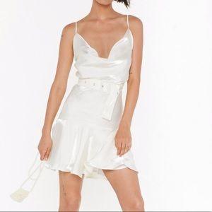Belted Shimmer Mini Dress